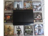 SONY PLAYSTATION SUPERSLIM 500GB PS3 CONSOLE GAMES BUNDLE GTA 5 CALL OF DUTY COD MW2 MW3 BATMAN