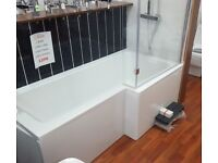 1700 x 700 L bath Tub White with Panel and Screen