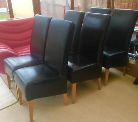 6 brown leather designer dinning room chairs