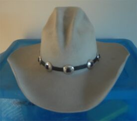WESTERN COWBOY HAT with HATBAND - USA SIZE 6 7/8 / 55 By MHT of TEXAS 3X Beaver