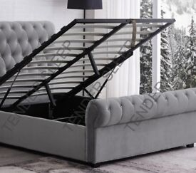 EXPRESS DELIVERY DOUBLE OR KING SLEIGH STORAGE / WITHOUT STORAGE BED FRAME WITH MATTRESS