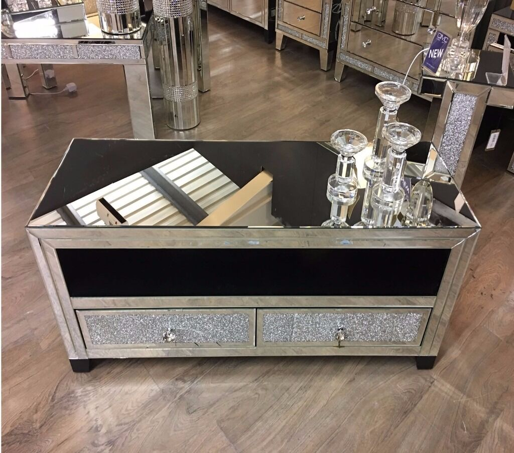Diamond Crush Mirrored Tv Stand Entertainment Unit In