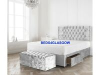 DOUBLE CRUSH VELVET DIVAN BED WITH 24INCH PRINCESS HEADBOARD