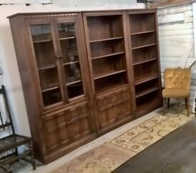Ultra Rare Ercol 3m Library Bookcase *FREE DELIVERY* Display Dresser in Fruitwood (Elm Oak Blonde)