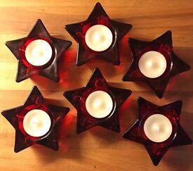 6 Red Glass Star Tea Light Holders