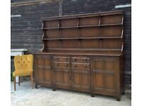 Ultra Rare & Stunning Ercol Solid Elm Large 7ft Welsh Dresser *FREE DELIVERY* Shabby Chic (Oak pine)