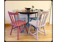 Painted pine table and 4 chairs - choose a variety of colours or matching colours