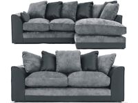 UK EXPRESS DELIVERY | NEW DYLANO JUMBO BLK/GRY 3+2 SEATER OR LH/RH CORNER