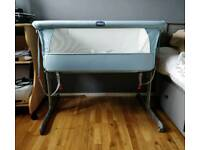 Chicco Next to me bedside crib (sky blue and silver fox theme)
