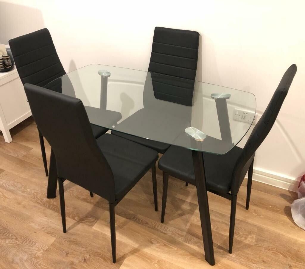 Incredible Glass Dining Table And 4 Black Leather Chairs 60 Excellent Condition In Kingswood Bristol Gumtree Bralicious Painted Fabric Chair Ideas Braliciousco