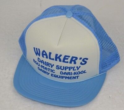 Vtg 1980's Trucker Hat Walker's Dairy Supply Bou-Matic Dari-Kool, Blue/White for sale  McMinnville