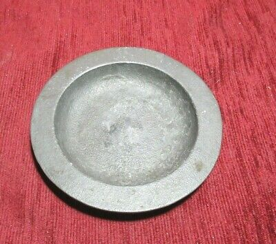 ANTIQUE ENGLISH PEWTER PIN DISH SAUCER  CROWNED X COCKEREL MARKS 1800'S