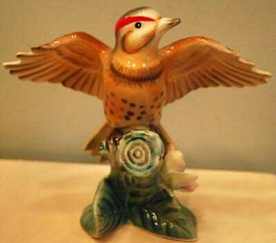 Vintage FLICKER WOODPECKER Bird Figurine MIYAO Fine Porcelain Hand Painted Japan