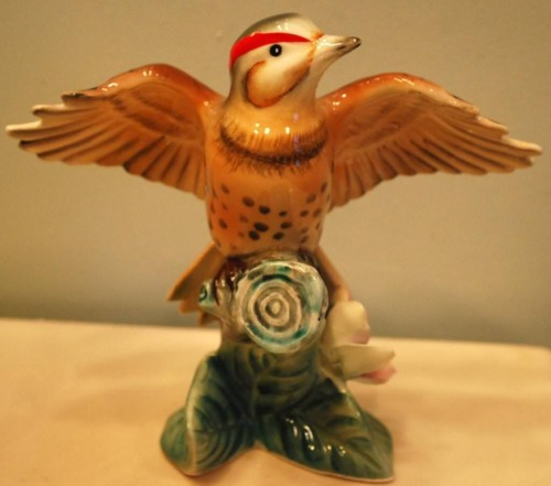 Vintage FLICKER WOODPECKER Bird Figurine MIYAO Fine Porcelain HAND PAINTED Japan