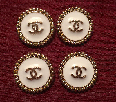 Chanel Buttons Set of 4 White Enamel and Gold Color