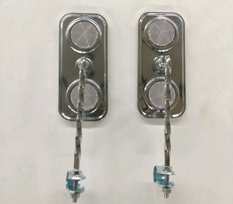 PAIR OF TWISTED LOWRIDER BICYCLE RECTANGLE MIRRORS CHROME WITH WHITE REFLECTORS