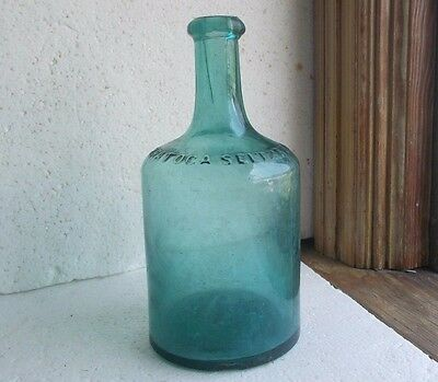 SARATOGA SELTZER WATER TEAL CRUDE APPLIED BLOB RING LIP MINERAL WATER 1870
