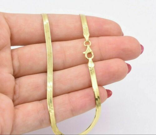 3mm Flexible Herringbone Anklet 14K Yellow Gold Clad Silver 925 Italy ALL SIZES
