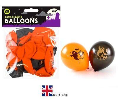 24 x HALLOWEEN PARTY BALLOONS Orange Black Pumpkin Scary Balloon Party Filler UK ()