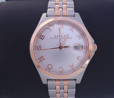NEW $250 Marc by Marc Jacobs Watch MBM3353 Slim Two-Tone Stainless Steel Date