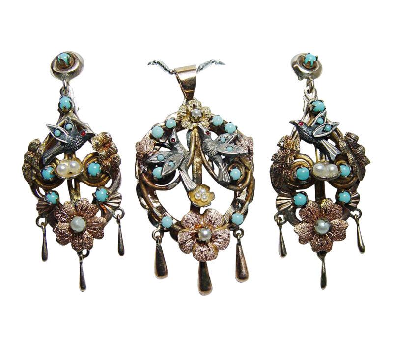 Antique 14K Gold Turquoise Bird Swallow Chandelier Pendant Earrings Set Video