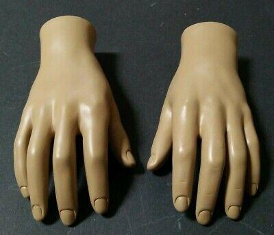 Mn-handsm-wf Pair Of Fleshtone Left Right Male Mannequin Hand Displays
