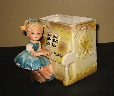 Little Girl Planter - Vintage Relpo Little Girl Playing the Piano Planter #6011