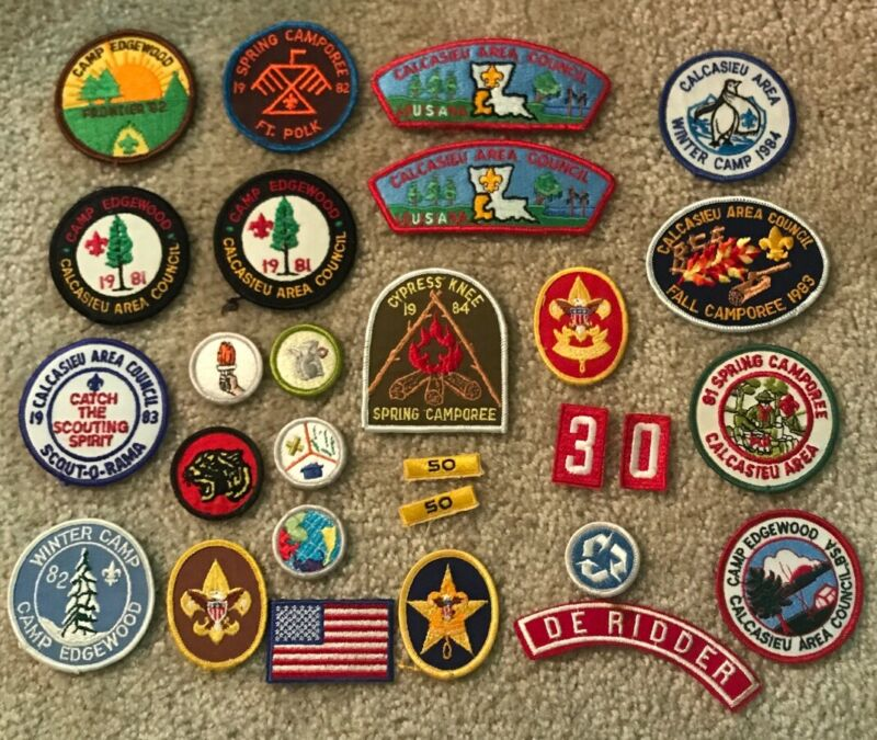 Lot Of Vintage Boy Scouts Patches 1980's Winter Camp Edgewood Camporee