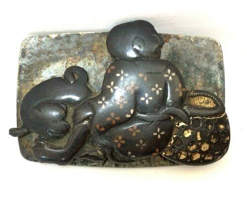 Antique Japanese Markanagu Clasp: Boy and Dog (V22)
