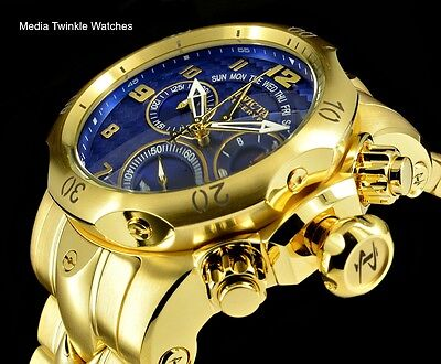 Invicta 52MM Reserve VENOM Quartz Chronograph Blue Dial GoldTone Bracelet Watch