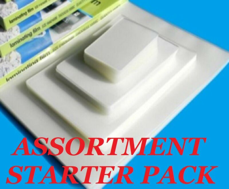 ASSORTMENT PK Laminating Pouches 11 VARIETIES 100 PC W/ LETTER 5 MIL Gloss