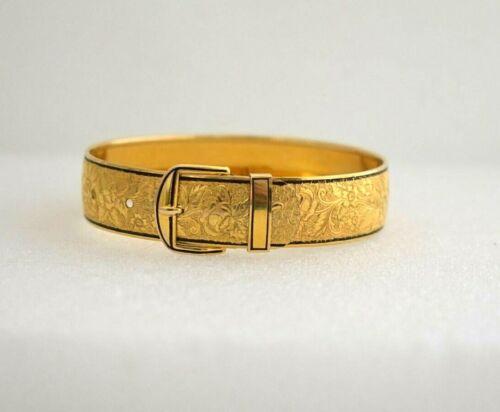 Vintage Hayward Bangle Bracelet 1/20 12K Gold Filled Etched Buckle Clasp