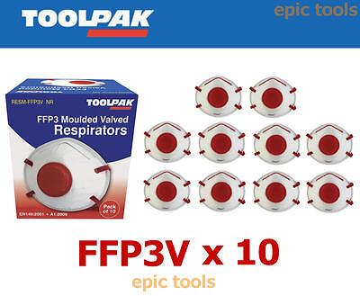 10 X TOOLPAK FFP3 Valved Moulded Face Respirators Dust Masks,RESM-FFP3V disposab