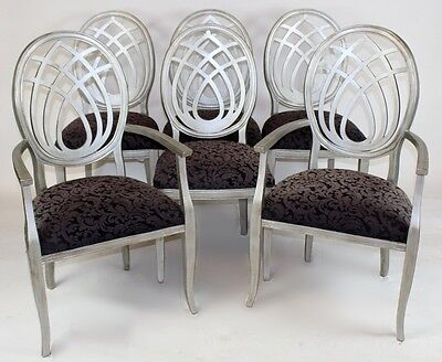 Set of 6 Italian Silver Painted Sigla Furniture Dining Chairs, Hollywood Regency