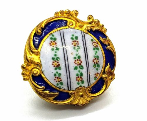 Antique Button…Wonderful Rococo Enamel …Rows of Tiny Flowers…Shape…15/16""
