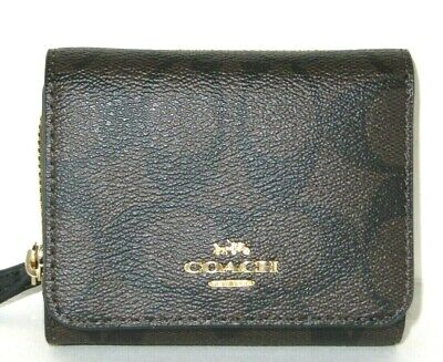 Coach Small Signature F41302 Black Brown Trifold Wallet Coin Pocket New NWT $150