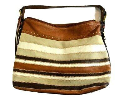 Fossil Multi-Colored Striped Satchel Bag Purse