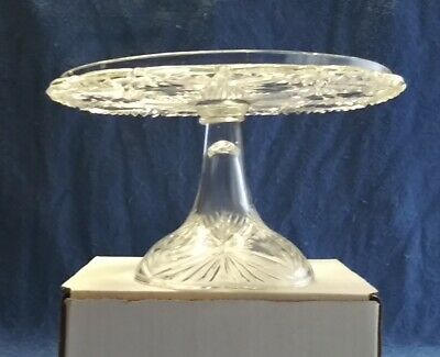 Vintage Glass Cake Stand With Green Tint Vintage Serving Retro Cake Stand 1970s Glass Cake Stand.