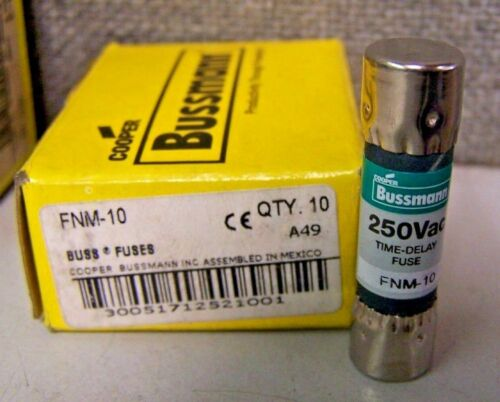 USA (5) pcs Bussmann FNM-10 TIME DELAY 10 AMP 250V PACK LOT