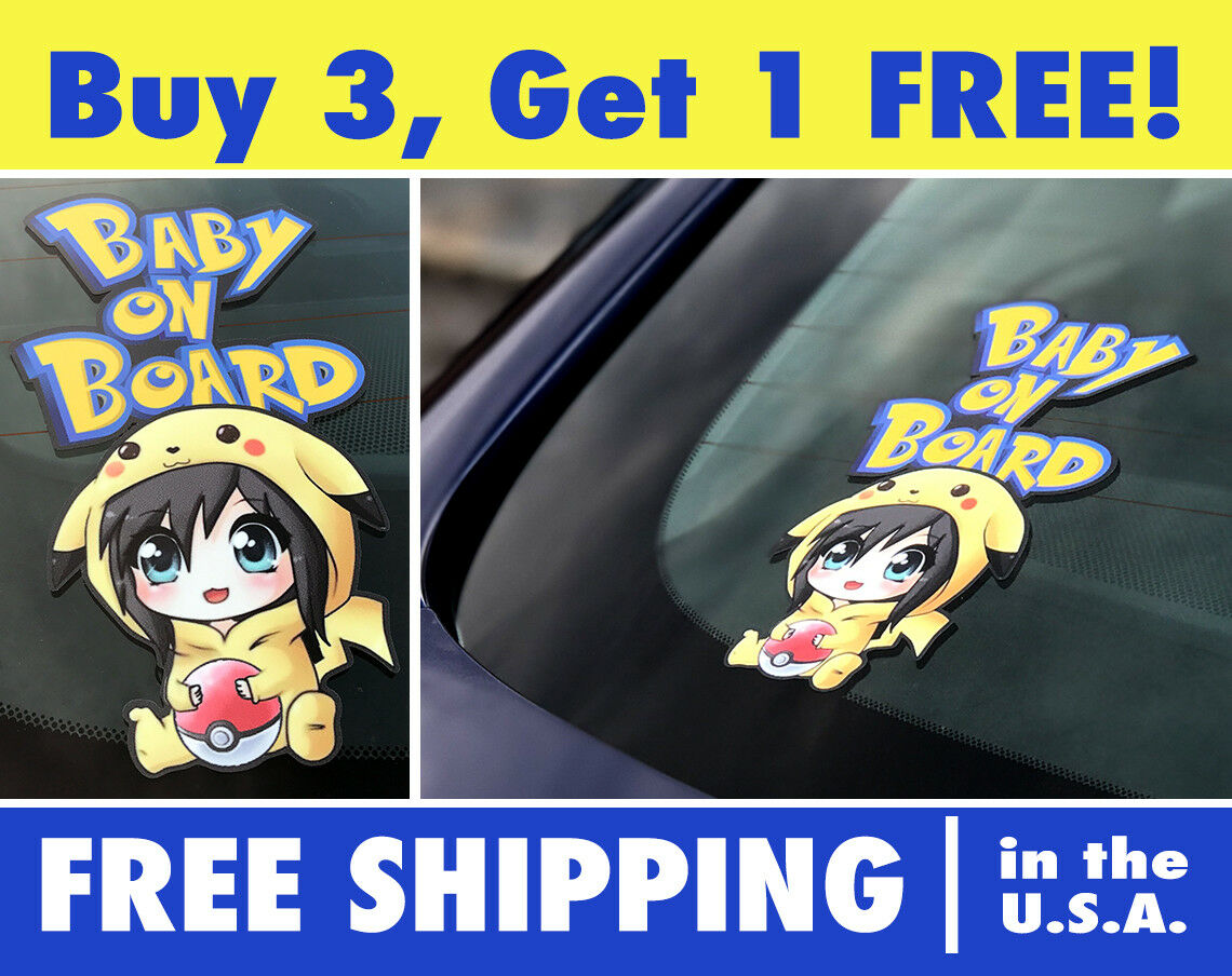 Pikachu Baby On Board, Pokemon Baby Decal, Pokemon Car Decal