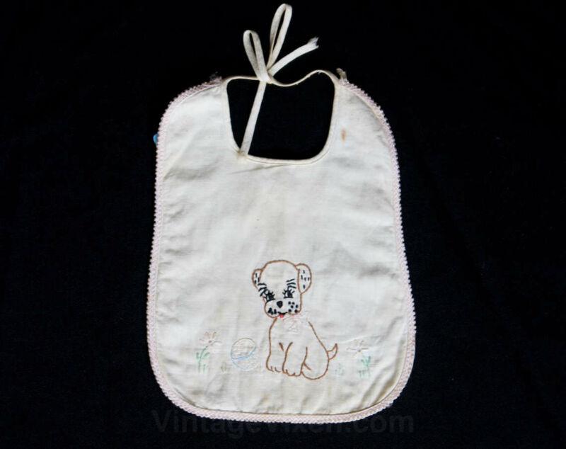 Baby Bib 1930s 40s Embroidered Puppy Dog Infants - Novelty Theme - White Cotton
