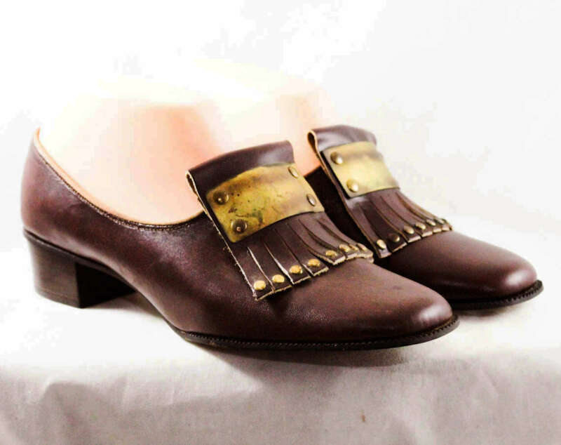 Size 7.5 Leather Loafers - Deadstock 1960s Brown Gladiator Style Shoes AA Narrow
