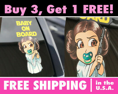 Baby Princess Leia (Baby On Board Star Wars Princess Leia, Baby Princess Leia Bumper Sticker)