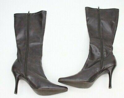 Steve Madden Womens Calf High Boots Brown High Heels Shoes Zip Size 9