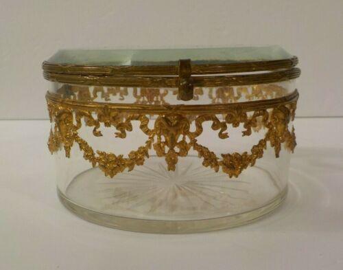 French Art Nouveau Crystal Dresser Box, Gilt Bronze Ormolu, c. 1890