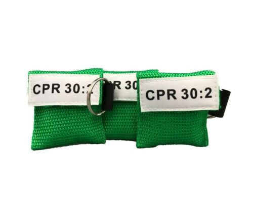 3 Green CPR Face Shield Mask in Pocket Keychain imprinted CPR 30:2