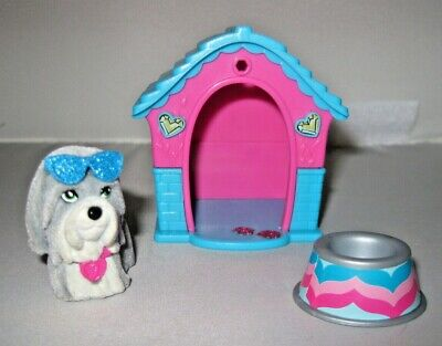 Barbie Grey Dog w/ Sunglasses, Dog House and Bowl Just Play 2014 Good Condition