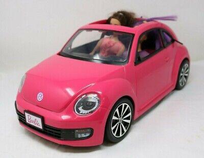 Barbie Pink Car VW Beetle and 2 Barbie Dolls By Mattel   (C3)