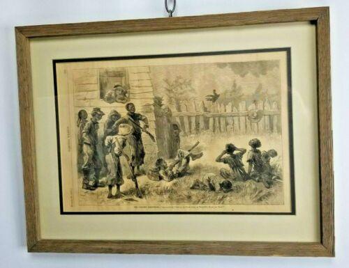 1875 HARPERS WEEKLY Black Americana Original Framed Print The Colored Creedmoor