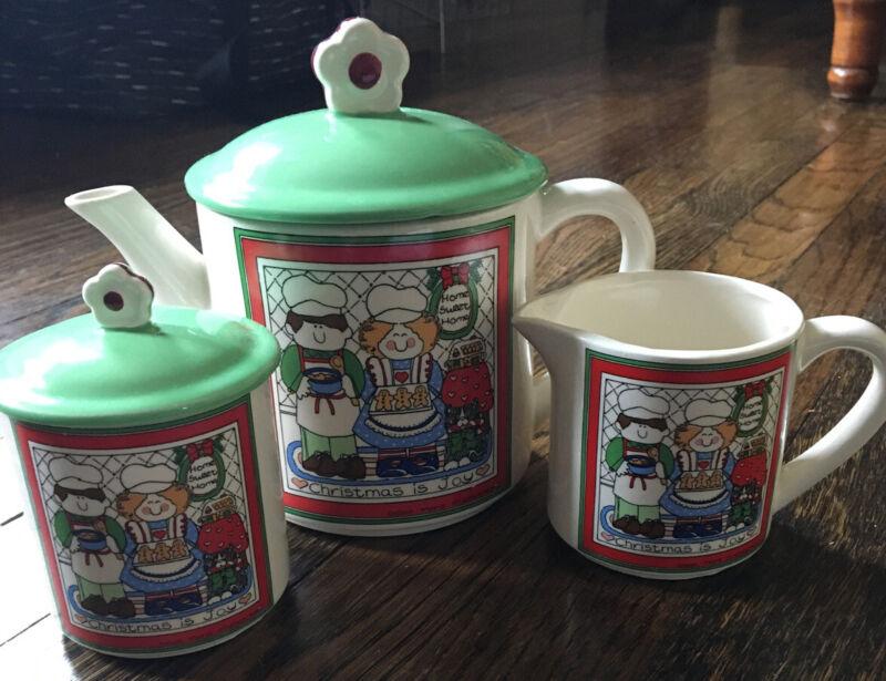 Vintage Susan Marie McChesney 1983 Enesco Christmas Sugar Creamer & Teapot